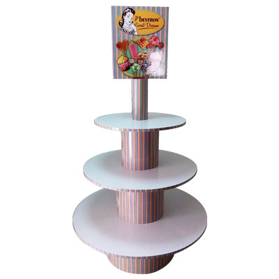 Round 3 tiers cardboard display stand,Display for Electronics products