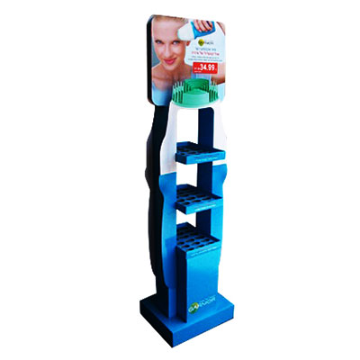 China custom made cosmetics cardboard display stand
