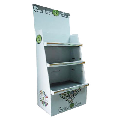 Cardboard display stand with 3 shelves