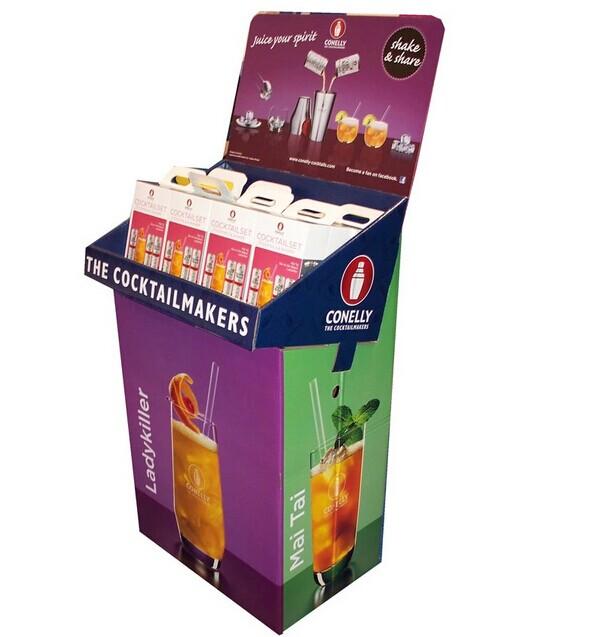 Custom cardboard floor display stand rack for supermarket promotion