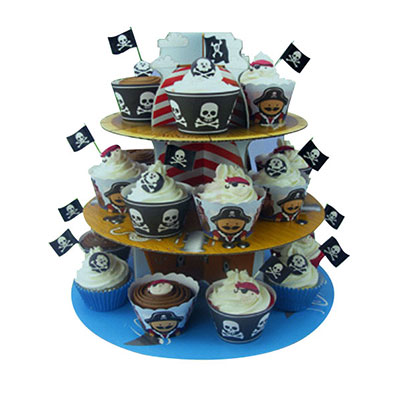 Three tiers round cardboard display tree
