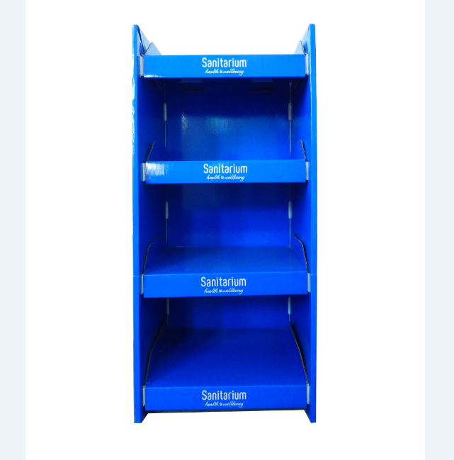 4 Tiers phamacy cardboard floor display stand unit